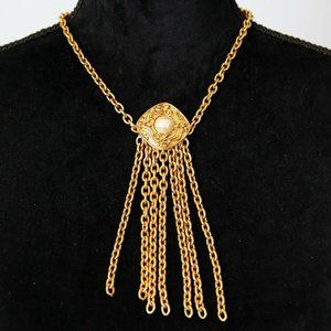 Chanel Faux Pearl Tassel Gold Tone Necklace